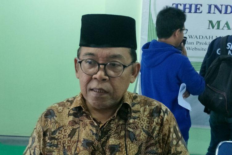 Ketua Komisi Infokom MUI Pusat Masduki Baidlowi dalam jumpa pers di kantor MUI Pusat, kawasan Menteng, Jakarta Pusat, Rabu (29/5/2019).