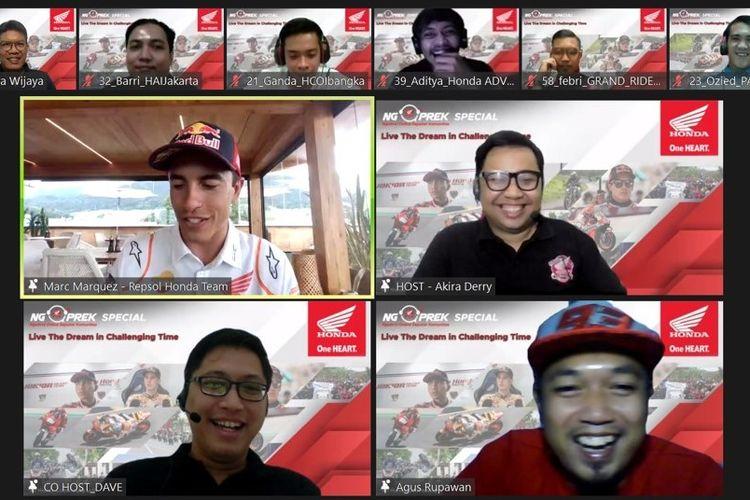 Acara silaturahmi virtual Ngobrol Online Seputar Komunitas (Ngoprek) oleh PT Astra Honda Motor (AHM)