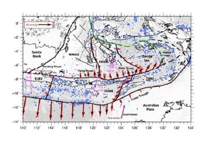 Sunda Banda Arc terbagiu menjadi tiga segmen, Jawa Timur, Sumba, dan Timor. Bagian utara dari Sunda Banda Arc terdapat segmen-segmen aktif yang saling berkesinambungan, salah satunya sesar Kendeng.