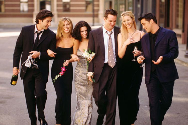 Serial Friends yang dibintangi oleh David Schwimmer, Jennifer Aniston, Courteney Cox, Matthew Perry, Lisa Kudrow, dan Matt LeBlanc