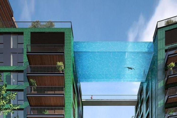 Sky Pool di Embassy Gardens akan memberikan sensasi melayang di Kota London.