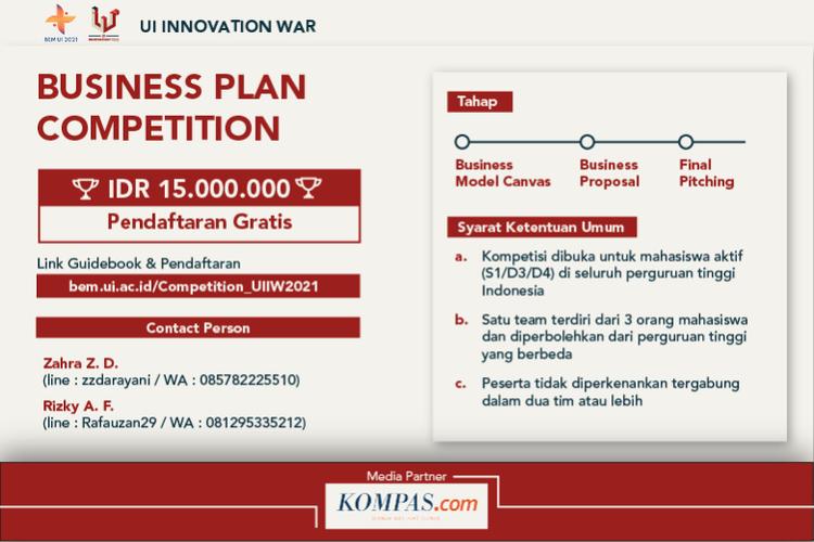Kompetisi rancang bisnis UI Innovation War 2021.