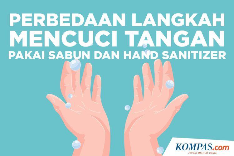 Perbedaan Langkah Mencuci Tangan Pakai sabun dan Hand Sanitizer