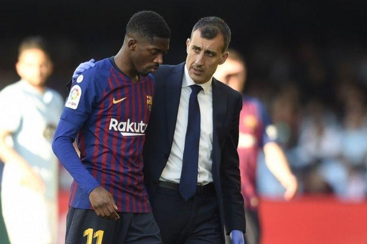 Ousmane Dembele cuma main enam menit lantaran cedera pada laga Celta Vigo vs Barcelona dalam lanjutan La Liga Spanyol di Stadion Balaidos, 4 Mei 2019.