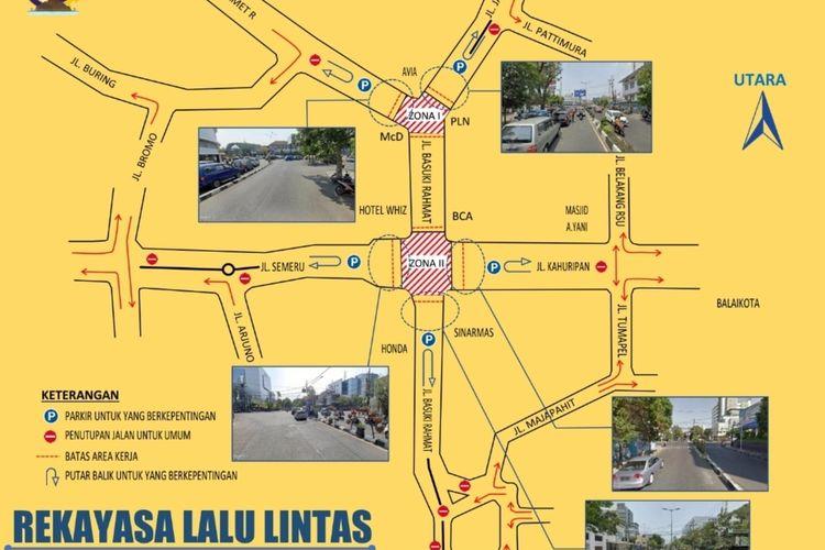 Peta pengalihan arus lalu lintas akibat pembangunan Kawasan Malang Heritage oleh Dinas Perhubungan Kota Malang.