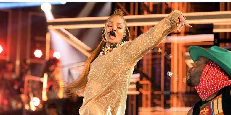 Janet Jackson tampil di panggung Billboard Music Awards 2018, yang diselenggarakan di MGM Grand Garden Arena, Las Vegas, Nevada, AS, Minggu (20/5/2018).