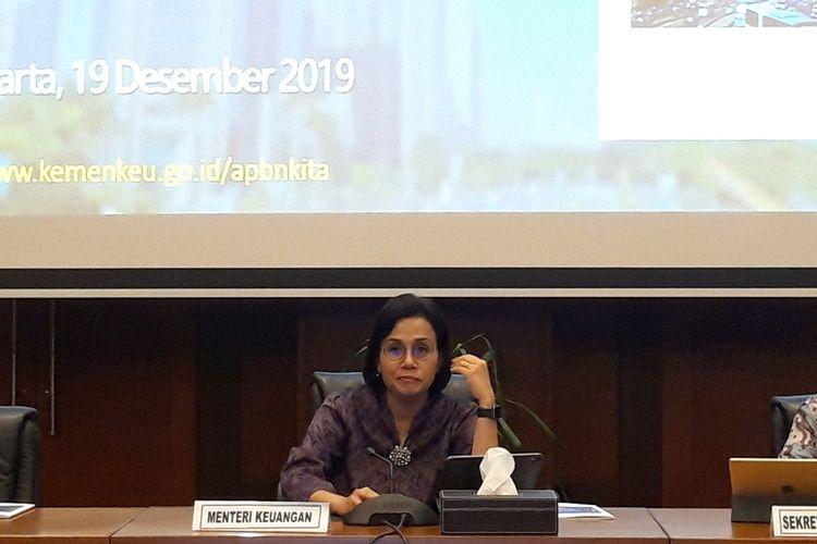 Menteri Keuangan Sri Mulyani Indrawati ketika memaparkan realisasi APBN hingga 30 November 2019 di Jakarta, Selasa (19/12/2019).