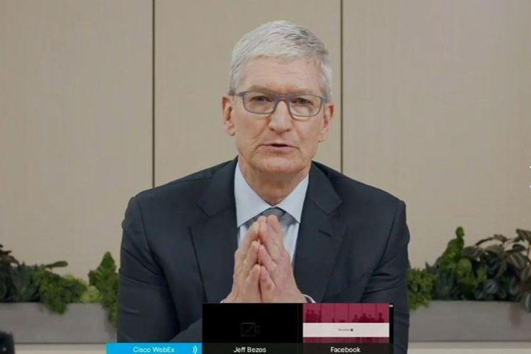 CEO Apple, Tim Cook, memberikan pernyataan di sidang yang digelar DPR AS, Rabu (29/7/2020).
