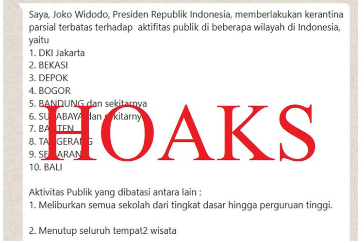 Hoaks pemberlakuan karantina parsial di Indonesia.