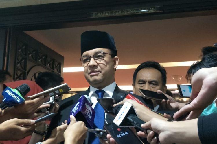 Gubernur DKI Jakarta Anies Baswedan di Gedung DPRD DKI Jakarta, Jalan Kebon Sirih, Jakarta Pusat, Senin (24/6/2019).