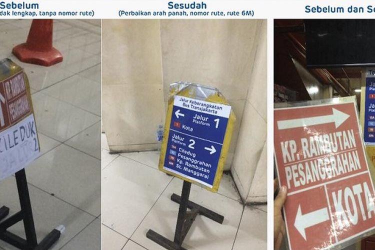 Revitalisasi petunjuk di Halte dan Terminal Transjakarta