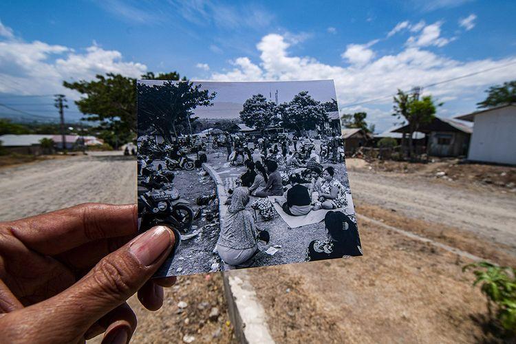Foto dirilis Sabtu (28/9/2019), memperlihatkan salah satu titik pengungsian bagi warga di Kelurahan Duyu, Palu, Sulawesi Tengah. Tidak jauh dari tempat tersebut kini sedang dibangun Hunian tetap (Huntap) bagi korban bencana.