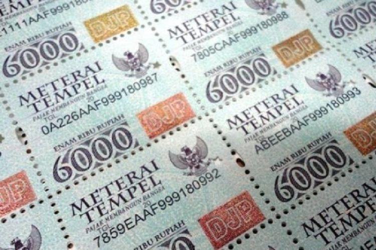 Ilustrasi materai Rp 6.000