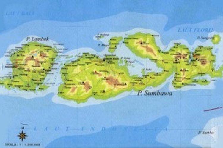 Peta Pulau Lombok dan Sumbawa