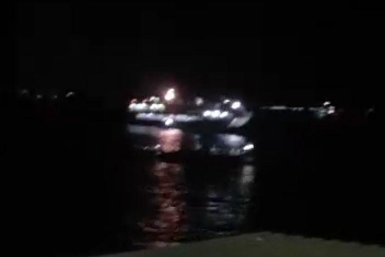 Tangkapan layar kapal tenggelam di perairan Gilimanuk