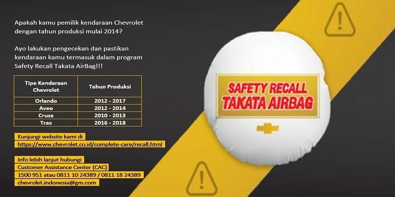 Program Safety Recall Takata Airbag dari Chevrolet