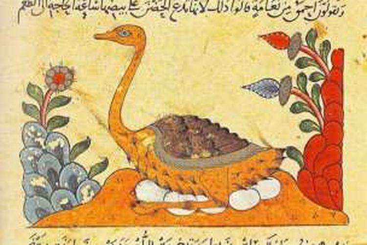 Salah satu ilustrasi dalam Kitab Al Hayawan. Al Jahiz menulis kitab tersebut pada abad ke 9, berisi gagasan tentang adaptasi dan evolusi.