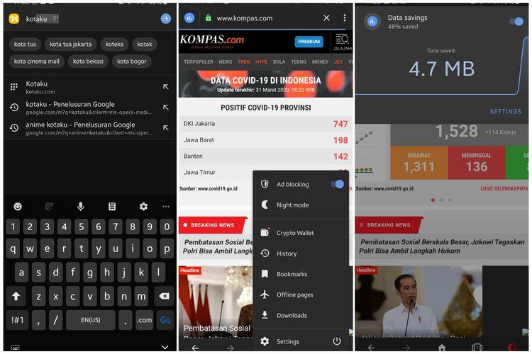 Fitur terbaru Opera versi Android. Fitur Speed Dial (kiri), ikon data saver dan fitur Crypto Wallet (tengah) dan fitur data saver ketika di-klik (kanan).
