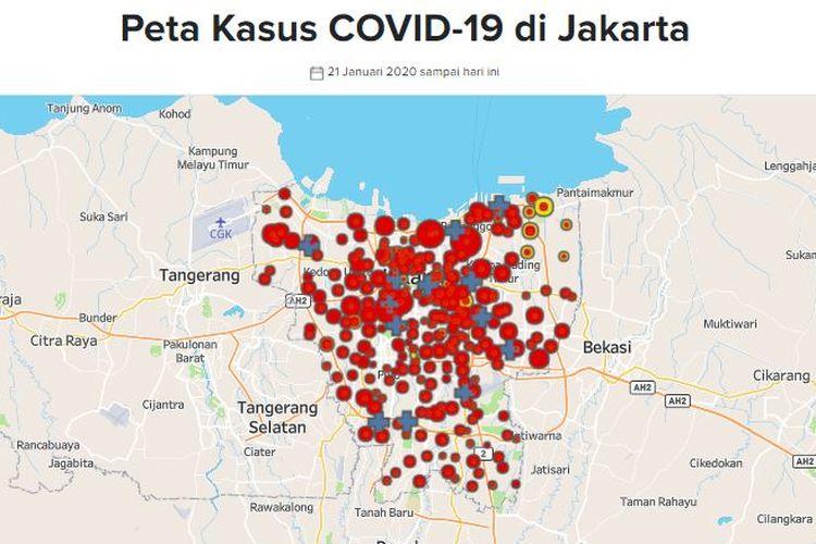 Peta sebaran kasus Covid-19 di Jakarta. Data tanggal 17 Mei 2020.