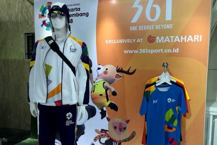 Produk pakaian olahraga merek 361 Degrees asal China yang menjadi sponsor Asian Games 2018.