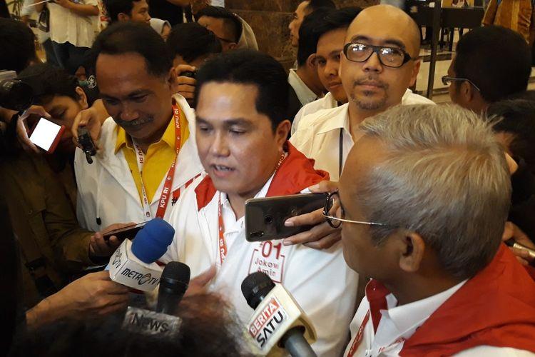 Ketua Tim Kampanye Nasional (TKN) Jokowi-Maruf, Erick Thohir, di Hotel Sultan Jakarta Pusat, Sabtu (13/4/2019).