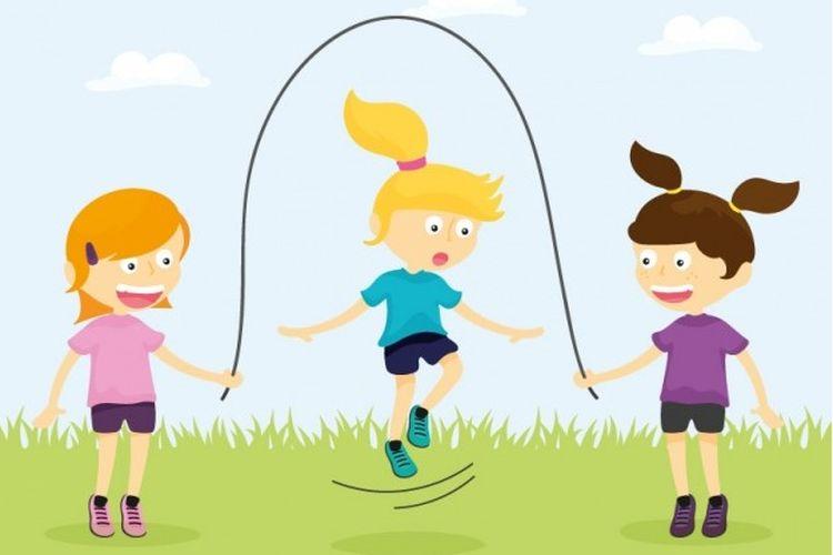 Ilustrasi anak-anak bermain permainan lompat tali di taman.
