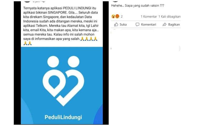 Unggahan hoaks yang mengklaim aplikasi PeduliLindungi buatan Singapura