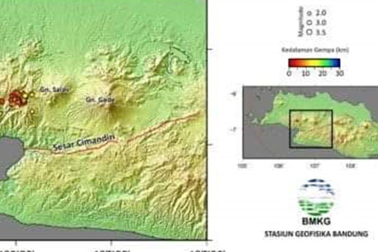 Peta gempa tektonik di darat yang terjadi di Sukabumi, Jawa Barat selama periode 10 hingga 21 Agustus 2019.
