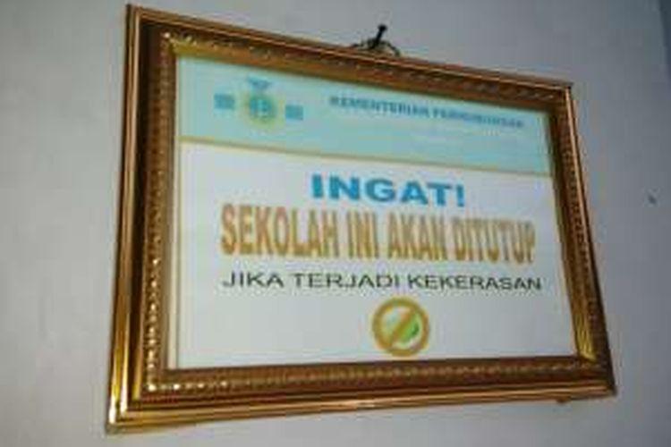 Pesan anti kekerasan di Sekolah Tinggi Ilmu Pelayaran (STIP) Jakarta di Marunda, Cilincing, Jakarta Utara. Foto diambil pada Rabu (11/1/2017).