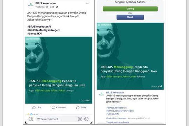 Iklan yang dibuat BPJS Kesehatan menampilkan sosok Joker dengan tulisan JKN-KIS menanggung penderita penyakit orang dengan gangguan jiwa agar tidak tercipta Joker-joker lainnya diunggah di Facebook. Iklan ini menuai kritik dari penggiat dan pemerhati kesehatan jiwa.