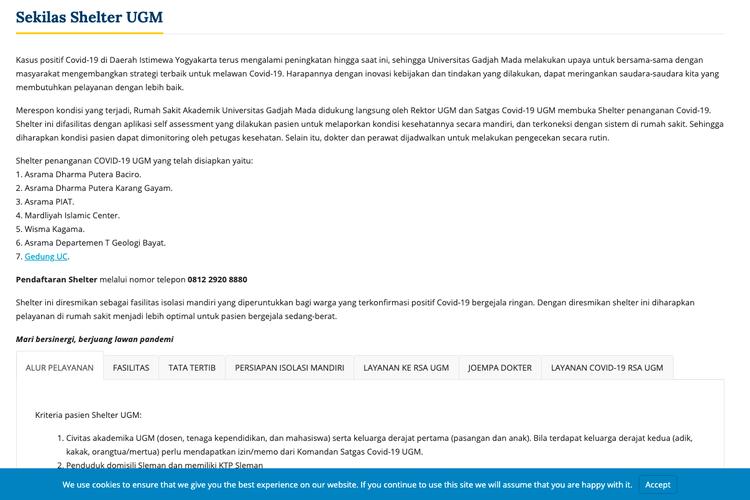 Informasi soal fasilitas shelter dari UGM