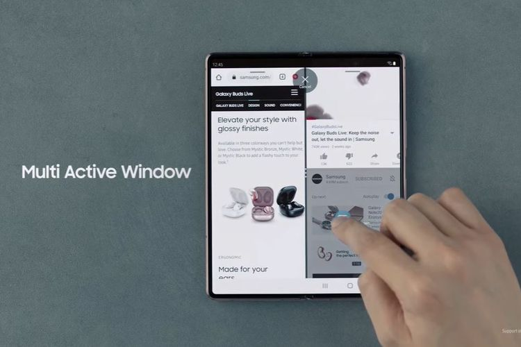 Fitur Multi Active Window Galaxy Z Fold 2 dengan Drag and Drop.