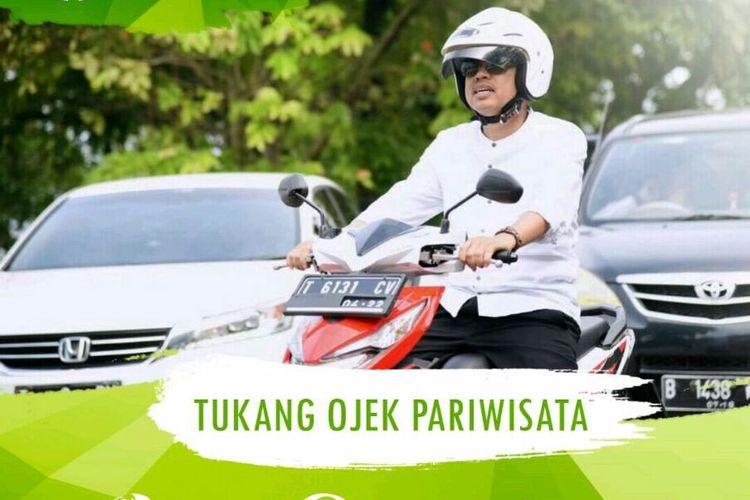 Iklan rekrutmen tukang ojek online pariwisata di Purwakarta.