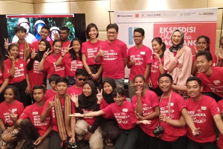 Master Class peserta Ekspedisi Bhinneka untuk Bangsa di Jakarta (1/1/2019) yang digelar Yayasan Helping Hands menghadirkan beberapa pembicara utama di antaranya Ananda Sukarlan (pianis dan kompinis), Angkie Yudistia (pendiri Thisable) dan Hannah Al Rasyid (aktris dan pegiat pencak silat).