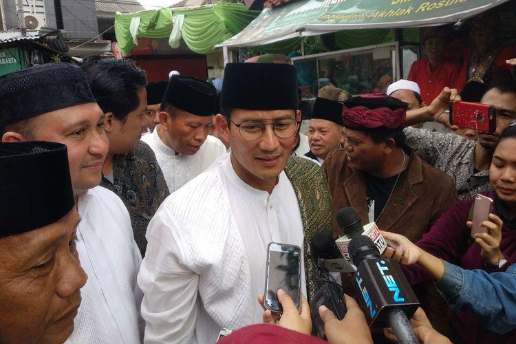 Wakil Gubernur DKI Jakarta Sandiaga Uno di Pesantren Nahdlatul Wathan, Penggilingan, Jakarta Timur, Minggu (10/12/2017).