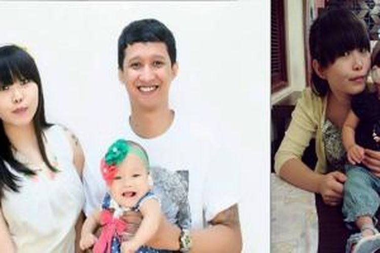 Gracie Melia Christianto bersama suami Aditya Saputra dan putrinya, Aubrey.