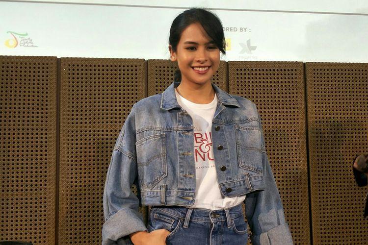 Artis peran dan penyanyi Maudy Ayunda dalam jumpa pers di Grand Indonesia, Jakarta Pusat, Rabu (3/7/2019).