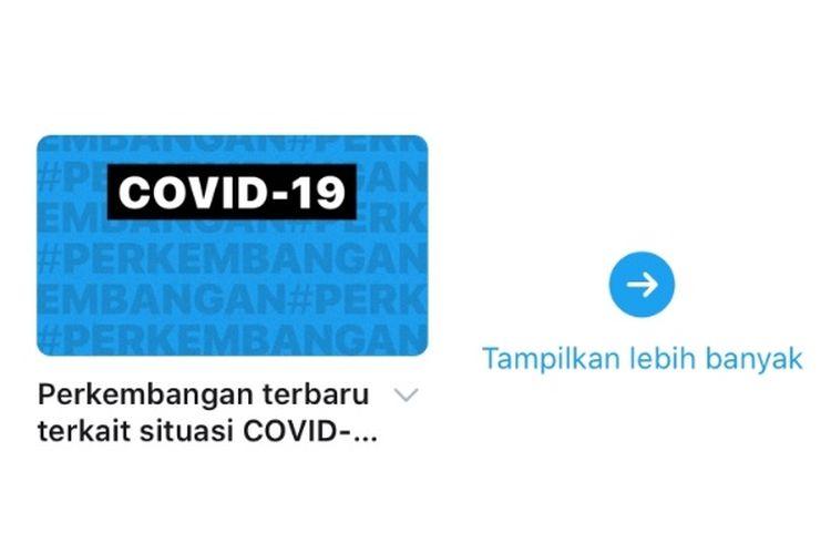 Screenshot event page untuk aplikasi Twitter pada smartphone