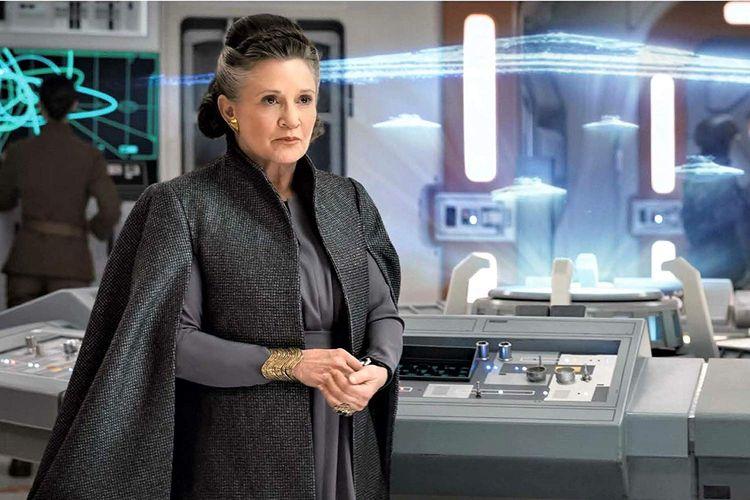 Aktris Carrie Fisher sebagai General Leia Organa atau Princess Leia dalam film Star Wars: The Last Jedi.