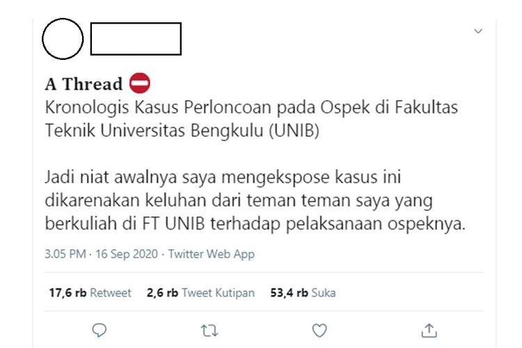 Sebuah unggahan yang menjelaskan tentang adanya dugaan perploncoan terhadap mahasiswa baru di Universitas Bengkulu, viral di media sosial.