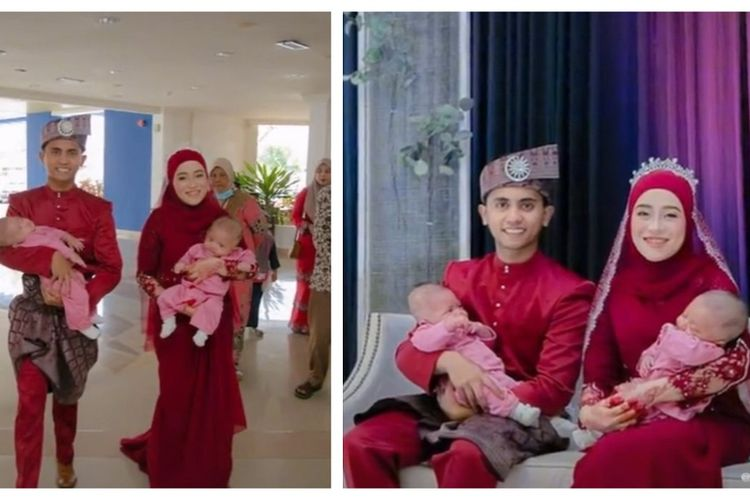 Sepasang pengantin di Malaysia mengejutkan para tamu di resepsi mereka karena membawa bayi kembar mereka pada Januari 2021. KEduanya rupanya sudah melaksanakan akad nikah pada Februari 2020.