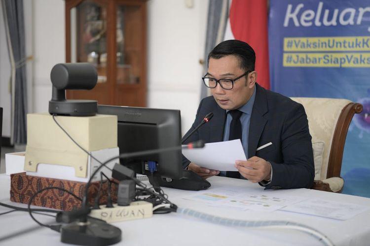 Gubernur Jabar Ridwan Kamil saat memaparkan inovasi pelayanan publik Jabar di sektor pertanian dalam video conference Kompetisi Inovasi Pelayanan Publik Tahun 2021 KemenpanRB di Gedung Pakuan, Kota Bandung, Senin (5/7/2021).