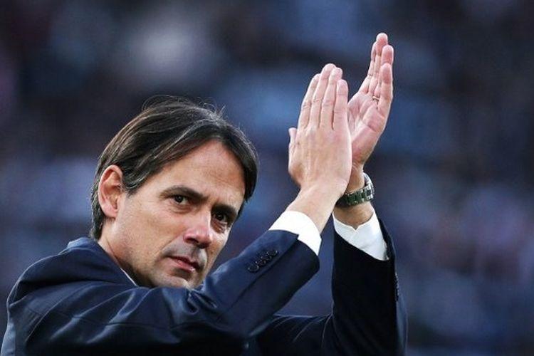 Pelatih Lazio, Simone Inzaghi, usai laga menghadapi SPAL di Stadion Olimpico, Minggu (2/2/2020).