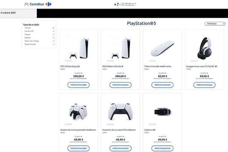 Harga PS5 dan aksesorinya di laman sebuah retailer asal Perancis