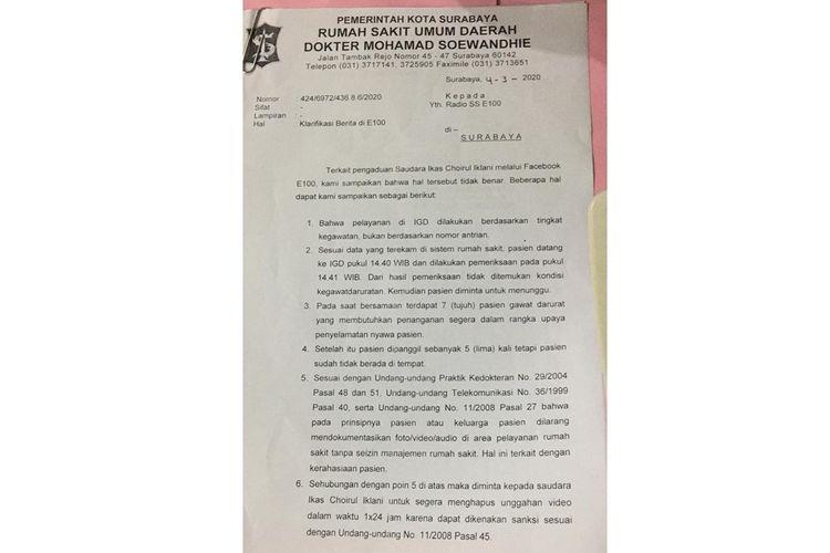 Poin-poin klarifikasi yang dikeluarkan oleh RSUD dr Soewandhie, Surabaya.