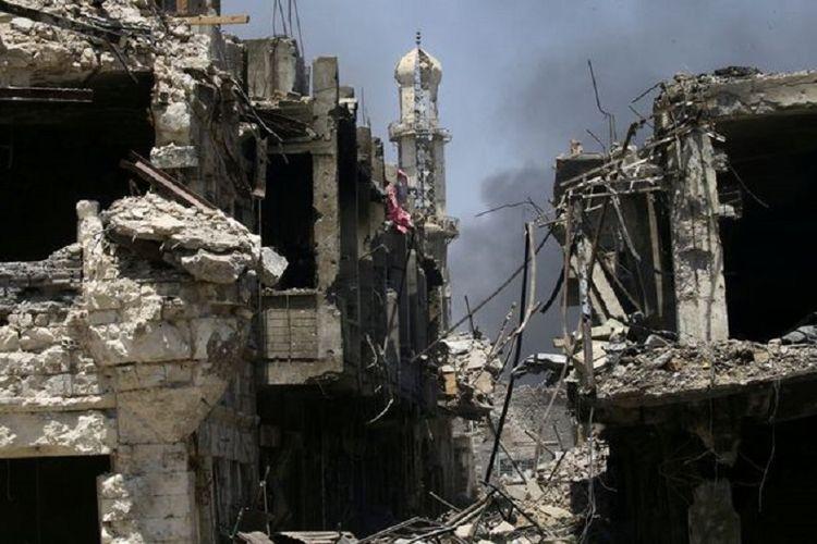 Kerusakan akibat perang di Mosul, Irak utara.
