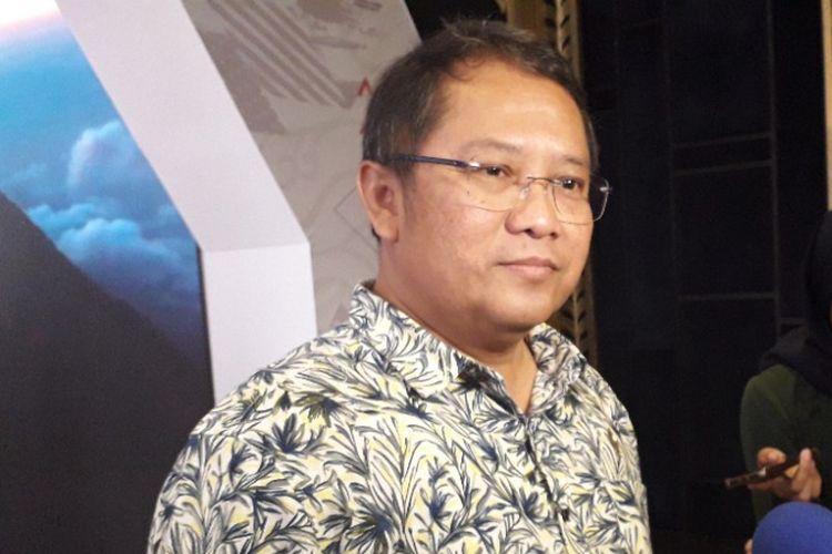Menkominfo Rudiantara memberikan keterangan kepada wartawan di sela-sela Nexticorn International Convention, Kuta, Bali, Sabtu (13/10/2018).
