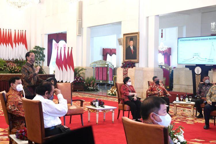 Suasana pertemuan antara Presiden Joko Widodo dengan para ketua umum dan sekretaris jenderal partai politik pendukung pemerintah di Istana Kepresidenan, Jakarta, Rabu (25/8/2021).