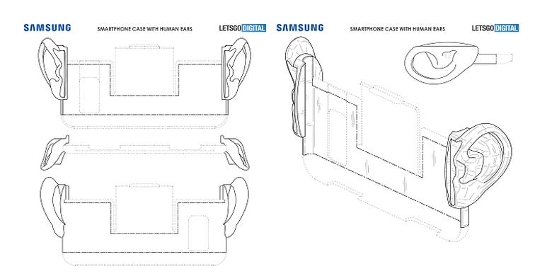 Sketsa paten case smartphone Samsung dengan grip dan aksesoris mirip daun telinga.