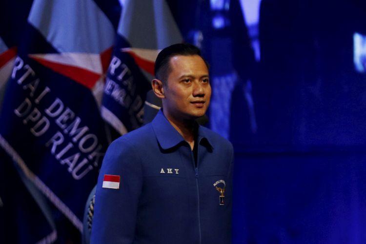 Agus Yudhoyono saat menghadiri pembukaan Rapat Pimpinan Nasional (Rapimnas) Partai Demokrat tahun 2018 di Sentul International Convention Center, Bogor, Jawa Barat, Sabtu (10/03/2018) .Partai Demokrat menggelar Rapimnas selama dua hari 10-11 Maret 2018 untuk membahas strategi Pemilu 2018 serta Pemilu Legislatif dan Pilpres 2019.